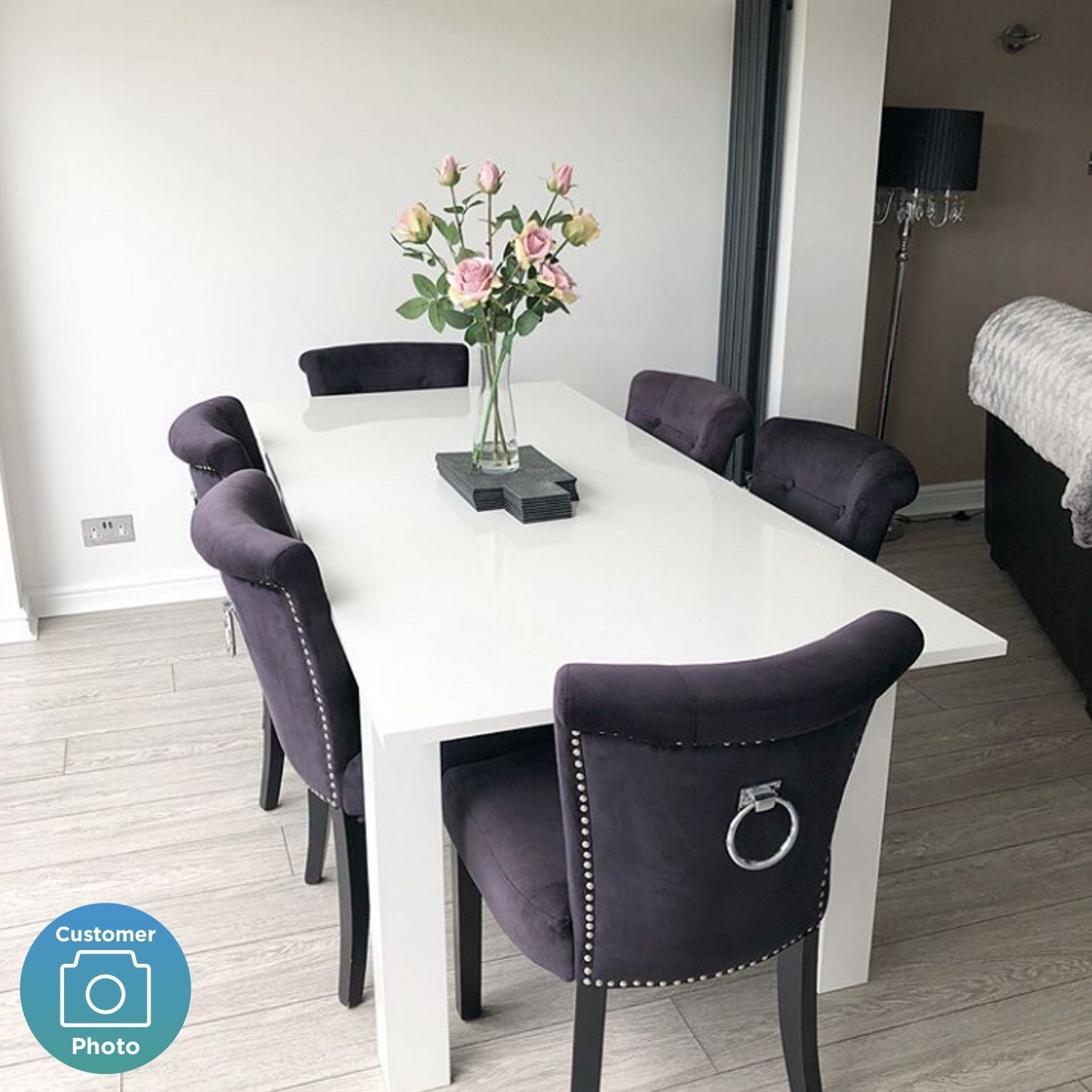 Swell White High Gloss Dining Table 6 Seater Extendable Vivienne Ncnpc Chair Design For Home Ncnpcorg