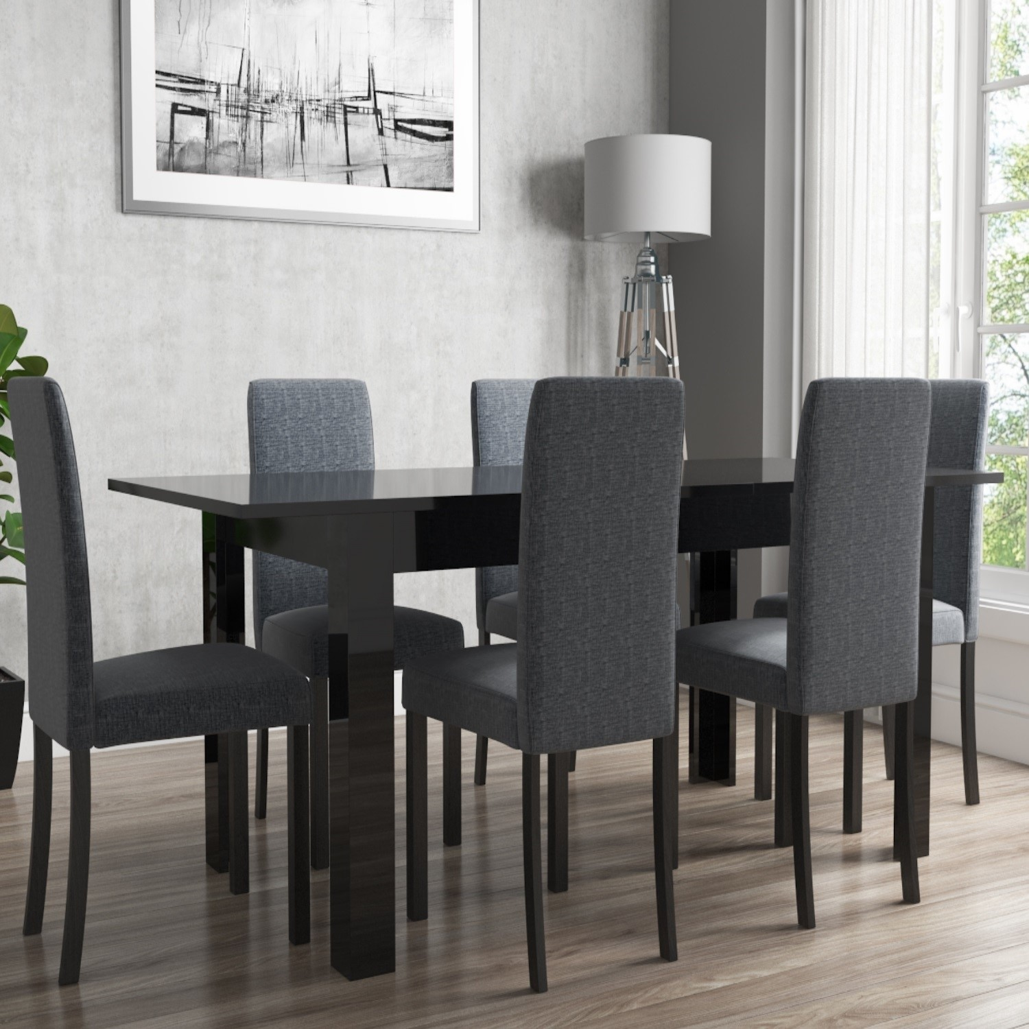 Grade A1 Vivienne Extending Black High Gloss Dining Table Furniture123
