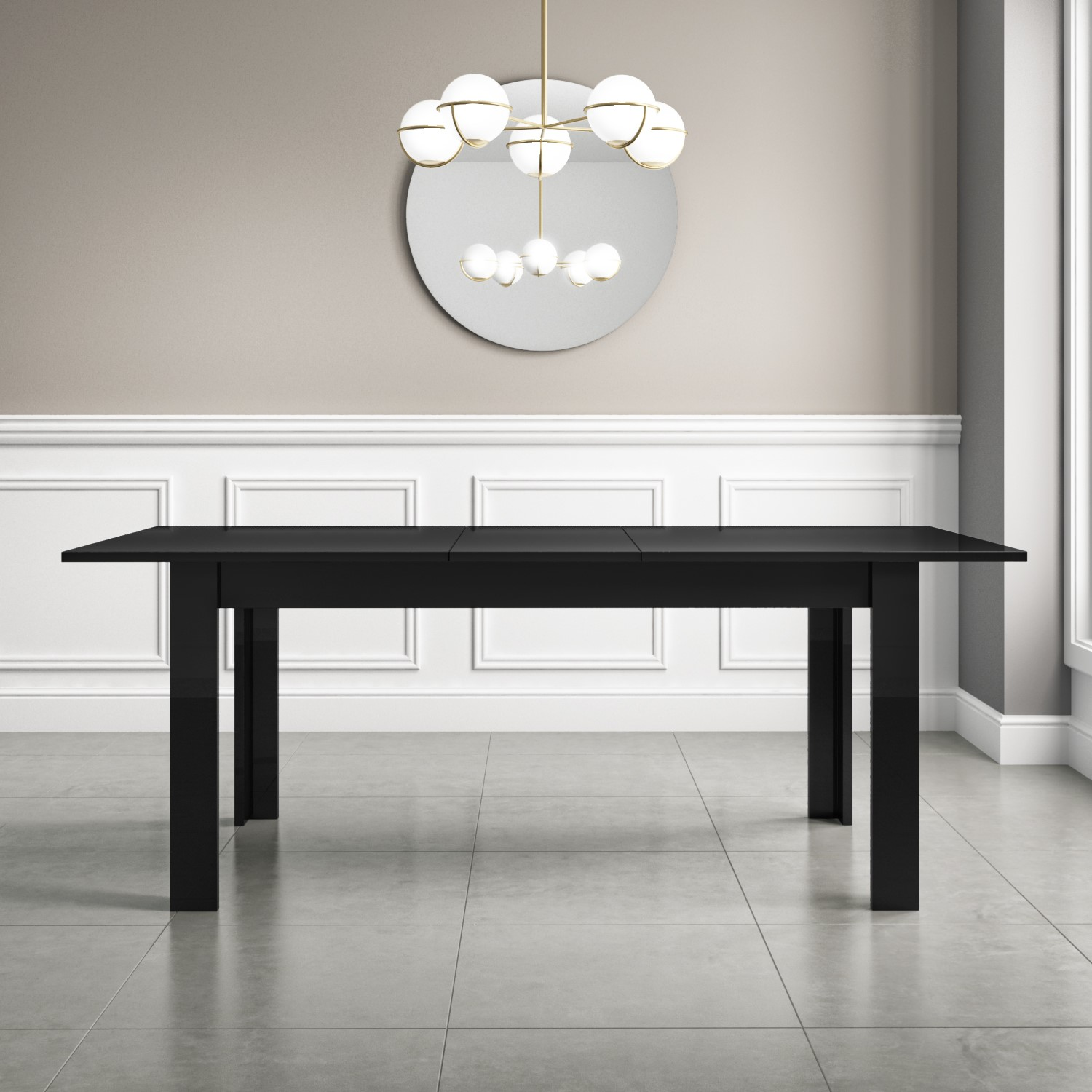 Black High Gloss Dining Table Extendable 6 Seater Vivienne Furniture123
