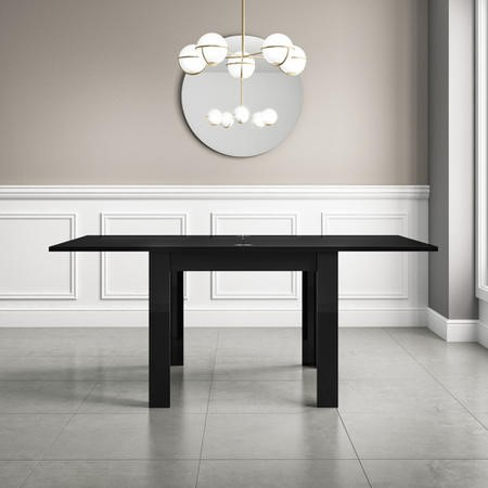 Black High Gloss Dining Table 4 Seater Flip Top - Vivienne