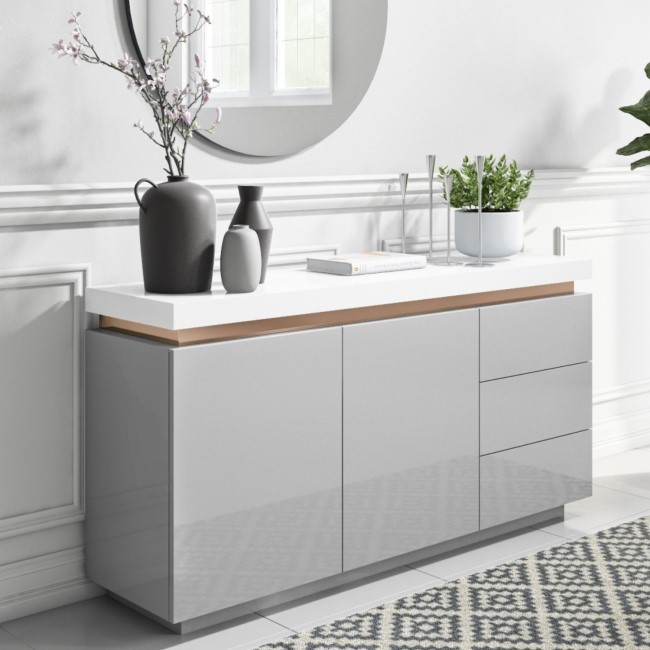 Grey & White Gloss Sideboard with Copper Inlay - Vivienne