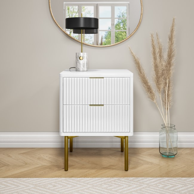 Valencia White High Gloss 2 Drawer Bedside Table with Groove Detail