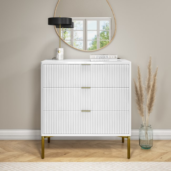 Valencia White High Gloss 3 Drawer Chest of Drawers with Groove Detail
