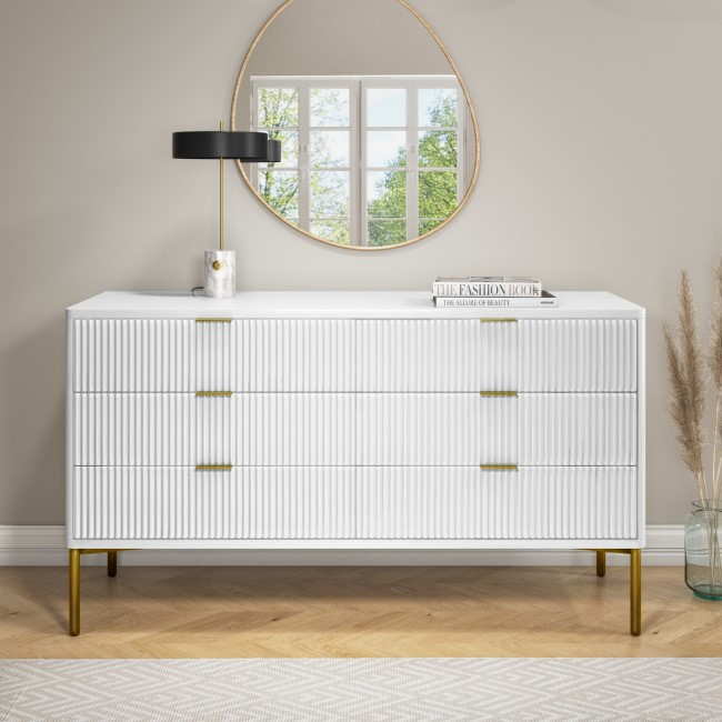 Valencia White High Goss Wide 6 Drawer Chest of Drawers with Groove Detail