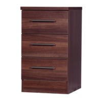 One Call Furniture Walnut 3 Drawer Bedside Chest