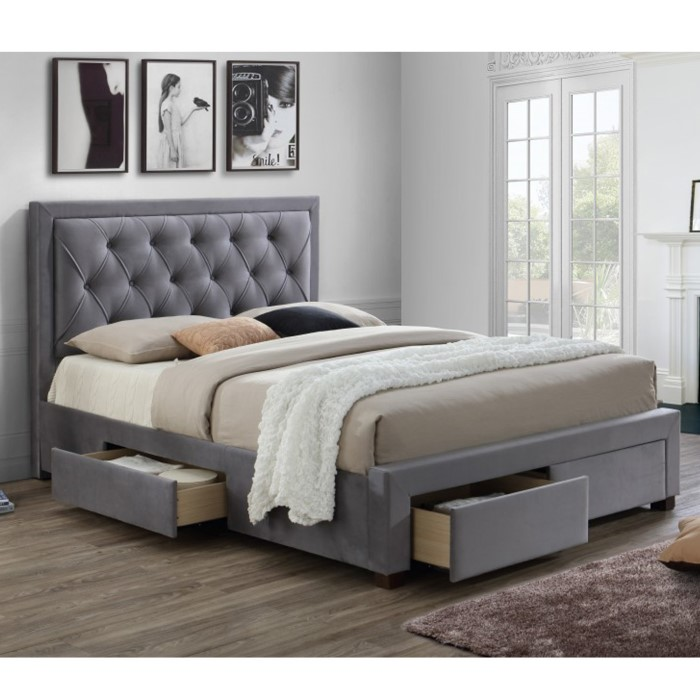 Birlea Woodbury Super King Upholstered Grey Ottoman Bed Furniture123