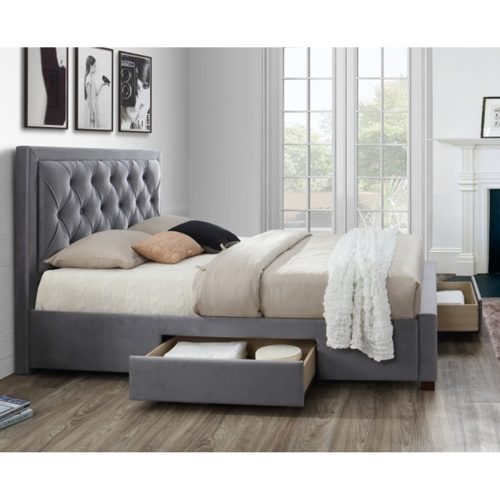 Birlea Woodbury King Size Upholstered Grey Ottoman Bed Furniture123