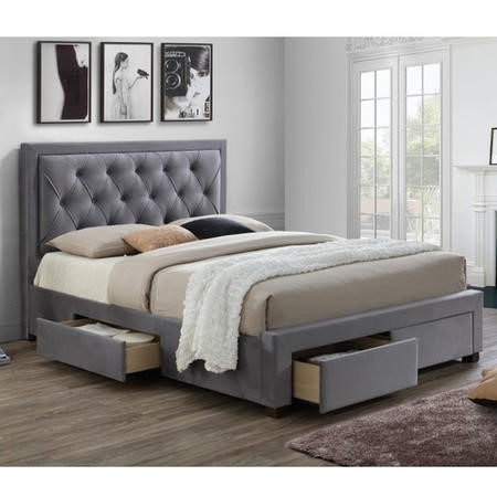 Birlea Woodbury Super King Upholstered Grey Ottoman Bed