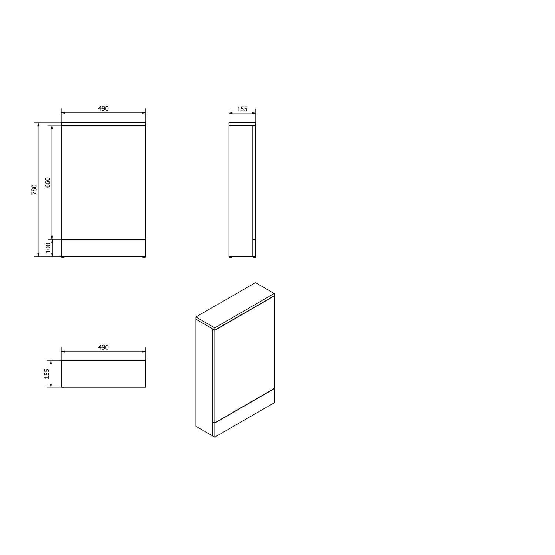 White Slimline Wc Toilet Unit Without Toilet W490 X H780mm