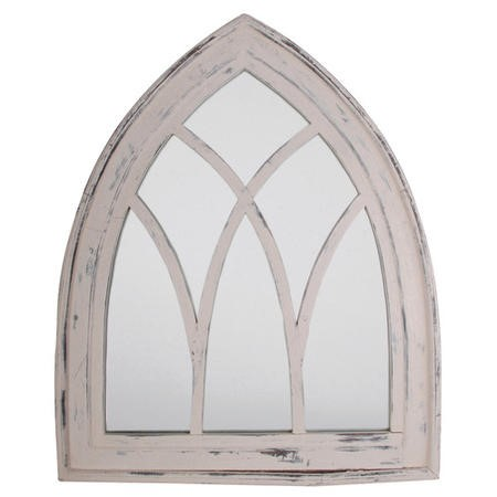 Gothic Garden Mirror in White Wash Wood