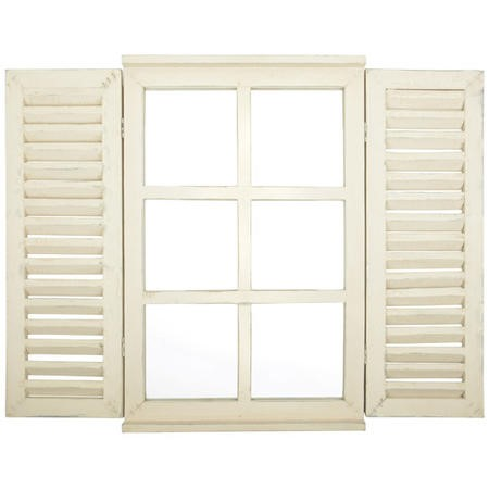 Outdoor Window Mirror with Shutter Doors