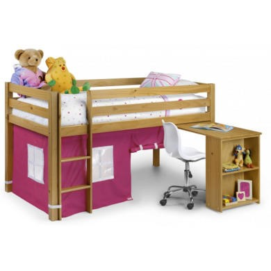 Julian Bowen Wendy Solid Pine Midsleeper Bed in Pink
