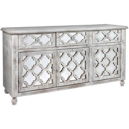 Aurora Boutique Miami Beach Mirrored Wood Ash 3 Door 3 Drawer Sideboard
