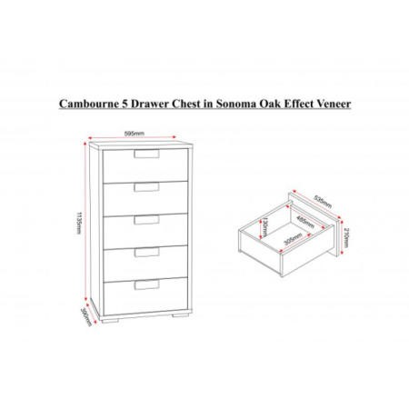Seconique Cambourne 5 Drawer Chest - Sonoma Oak Effect Veneer