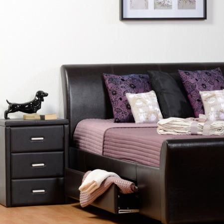Seconique Prado Black Faux Leather 3 Drawer Bedside Table
