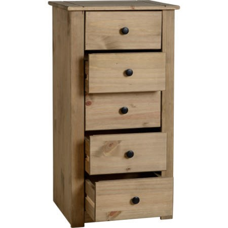 Seconique Panama Chest of 5 Drawers in Natural Wax