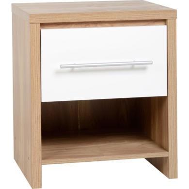 Seconique Seville1 Drawer Bedside Table in Oak/White