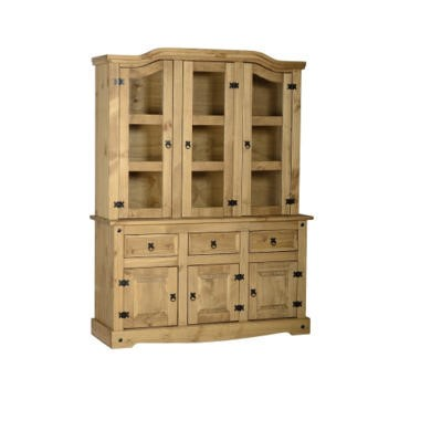 "Seconique Corona 4'6"" Buffet Hutch - Distressed Waxed Pine/Clear Glass"