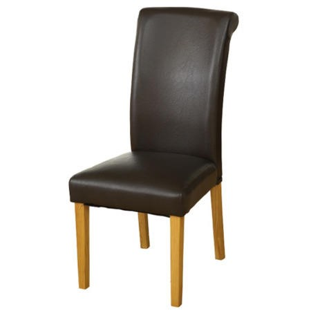 Seconique Dunoon Pair of Roll Back Dining Chairs in brown