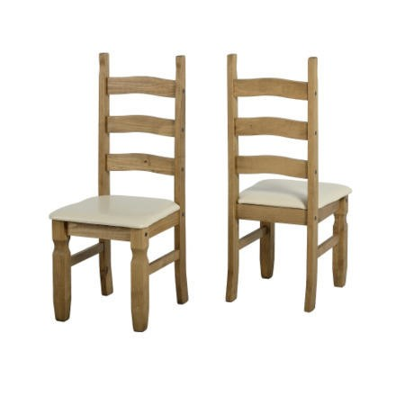 Seconique Pair of Corona Solid Pine Dining Chairs with Cream Faux Leather Seat