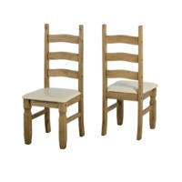 Seconique Pair of Corona Chairs in Distressed Waxed Pine/Cream PU