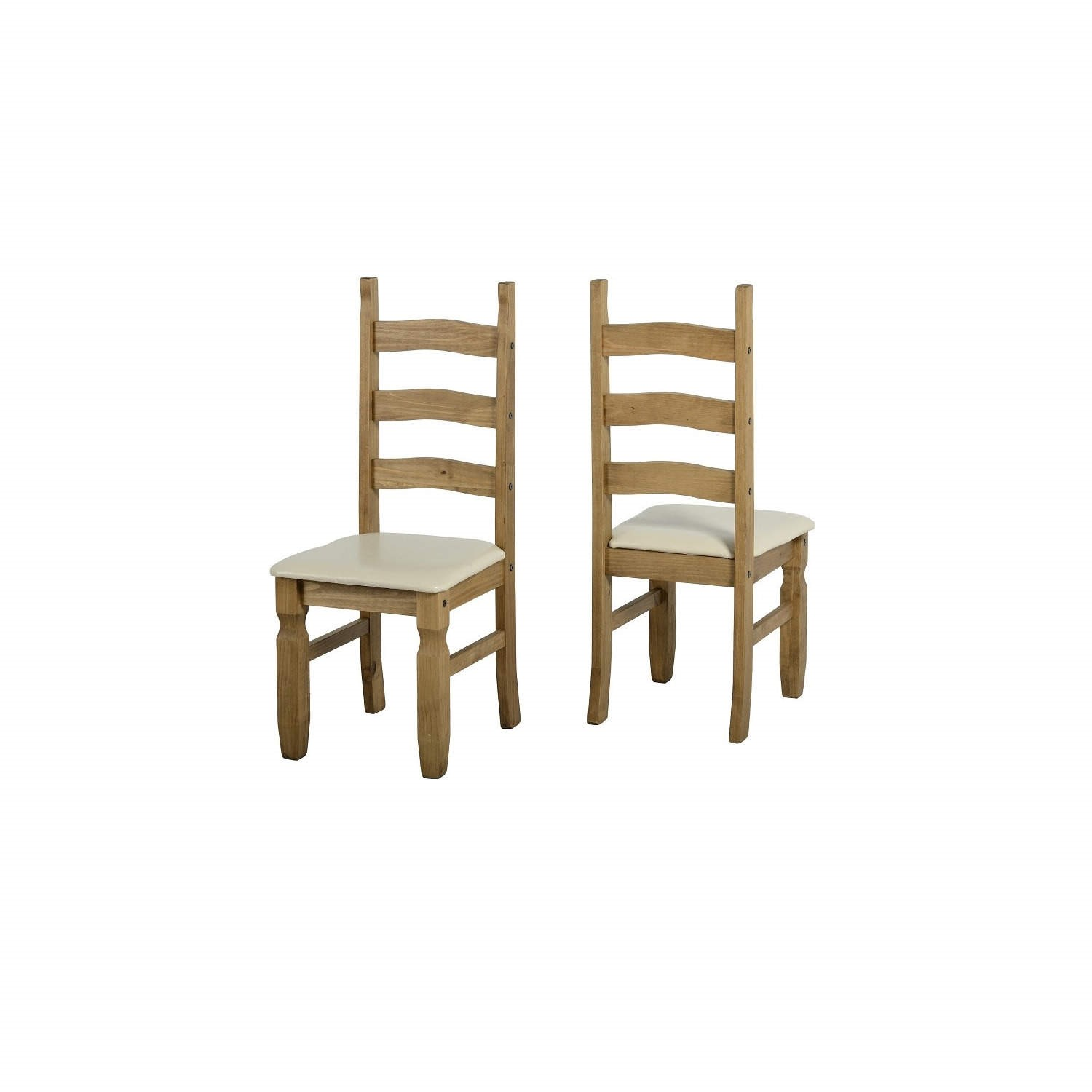 Set of 2 Dining Chairs in Pine with Cream Faux Leather  Corona