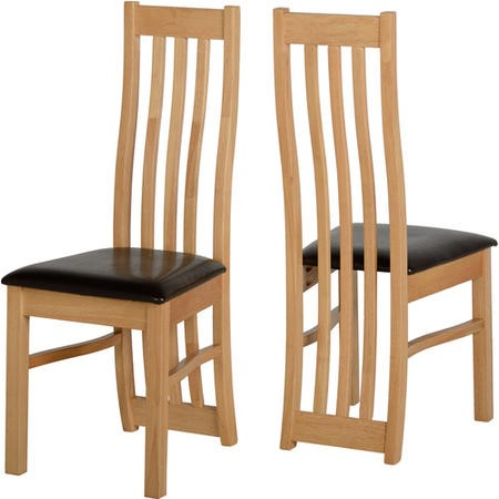 Seconique Ainsley Pair Of Chairs In Oak Effect Furniture123