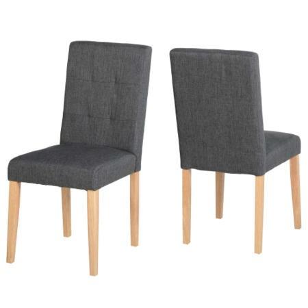 Seconique Aspen Pair Of Chairs In Dark Grey Fabric