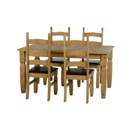 Seconique Corona Pine Dining Set + 4 Chairs with Brown PU Seat Pads