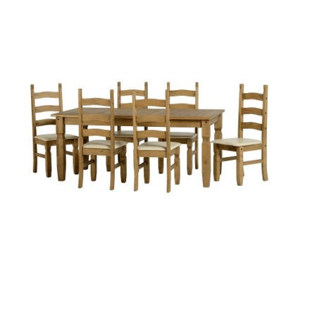 Seconique Corona Pine Dining Set + 6 Cream Faux Leather & Pine Chairs