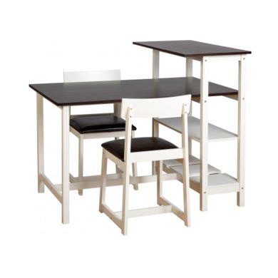 Seconique Costa Rica Dining Set - Classic Espresso/DP White/Brown PU