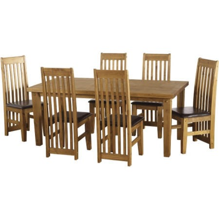 Seconique Tortilla PIne Dining Set + 6 Brown Faux Leather Chairs