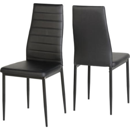 Seconique Abbey Glass Dining Set + 4 Black Faux Leather Dining Chairs