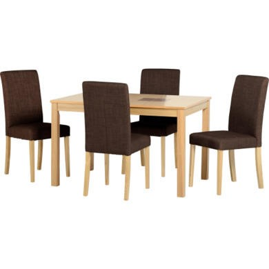 "Seconique Wexford 47"" Dining Set in Dark Brown Fabric"