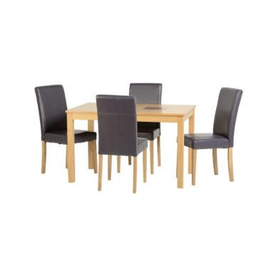 "Seconique Wexford 47"" Dining Set - Oak Veneer/Walnut Inlay/Charcoal PU"