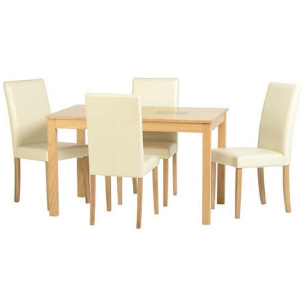 Seconique Wexford Oak Effect Dining Set with 4 Cream Dining Chairs