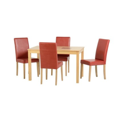 Seconique Wexford Oak Dining Set + 4 Red Faux Leather Dining Chairs
