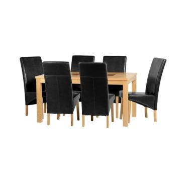"Seconique Wexford 59"" Dining Set - G1 - Oak Veneer/Walnut Inlay/Black PU"