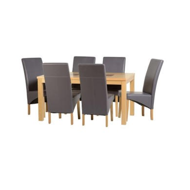 "Seconique Wexford 59"" Dining Set - G1 - Oak Veneer/Walnut Inlay/Charcoal PU"