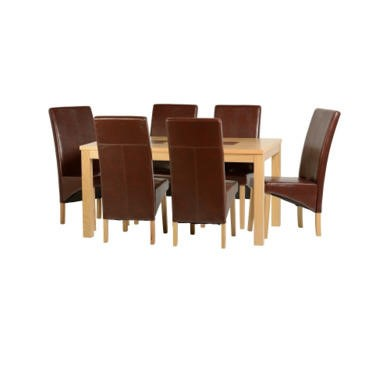 "Seconique Wexford 59"" Dining Set - G1 - Oak Veneer/Walnut Inlay/Mid Brown PU"