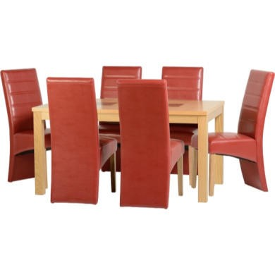 Seconique Wexford 59' Dining Set With G5 Rustic Red Chairs