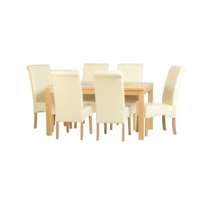 Seconique wexford dining set oak dining table 6 cream for Furniture 123 code