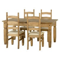 Seconique Corona Extending Dining Set - Extendable Distressed Waxed Pine Table & 4 Chairs