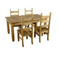 Seconique Corona Extending Dining Set- Waxed Pine Dining Table & 4 Pine Dining Chairs