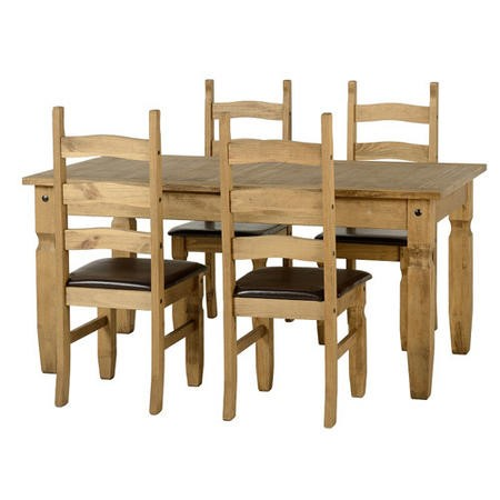 Seconique Corona Extending Pine Dining Table + 4 Brown PU Chairs