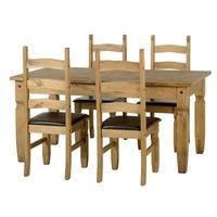 Seconique Corona Extending Dining Set- Pine Dining Table & 4 Pine Chairs with Brown PU Seats