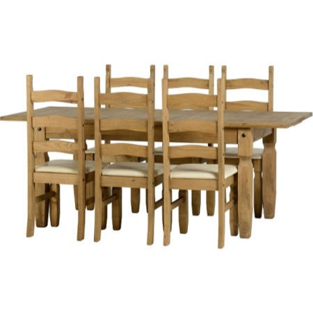 Seconique Corona Pine Extending Dining Set + 6 Cream PU Dining Chairs