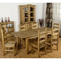 Seconique Corona Extending Dining Set - Waxed Pine Dining Table & 6 Pine Dining Chairs