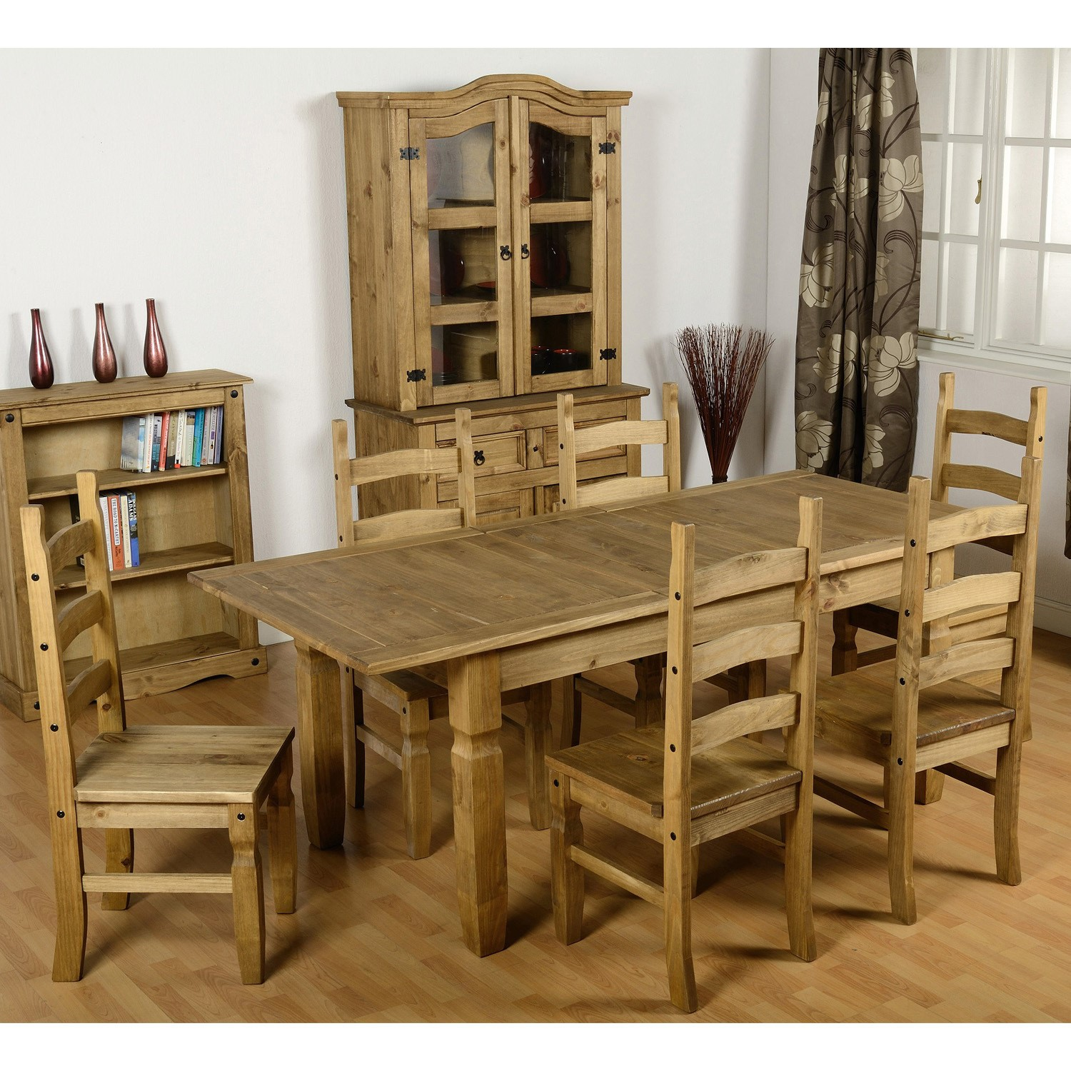 Seconique Corona Extendable Dining Table & 9 Pine Dining Chairs