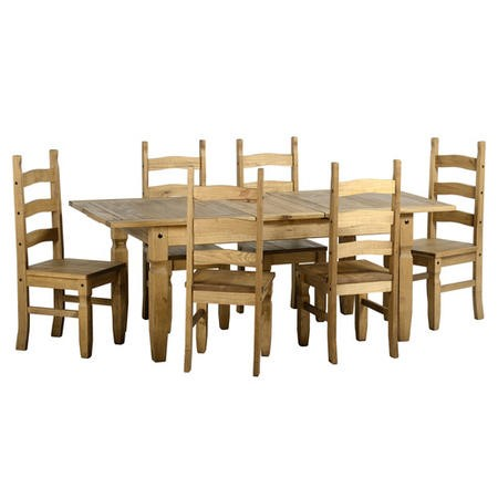 Seconique Corona Extending Dining Table & 6 Pine Dining Chairs